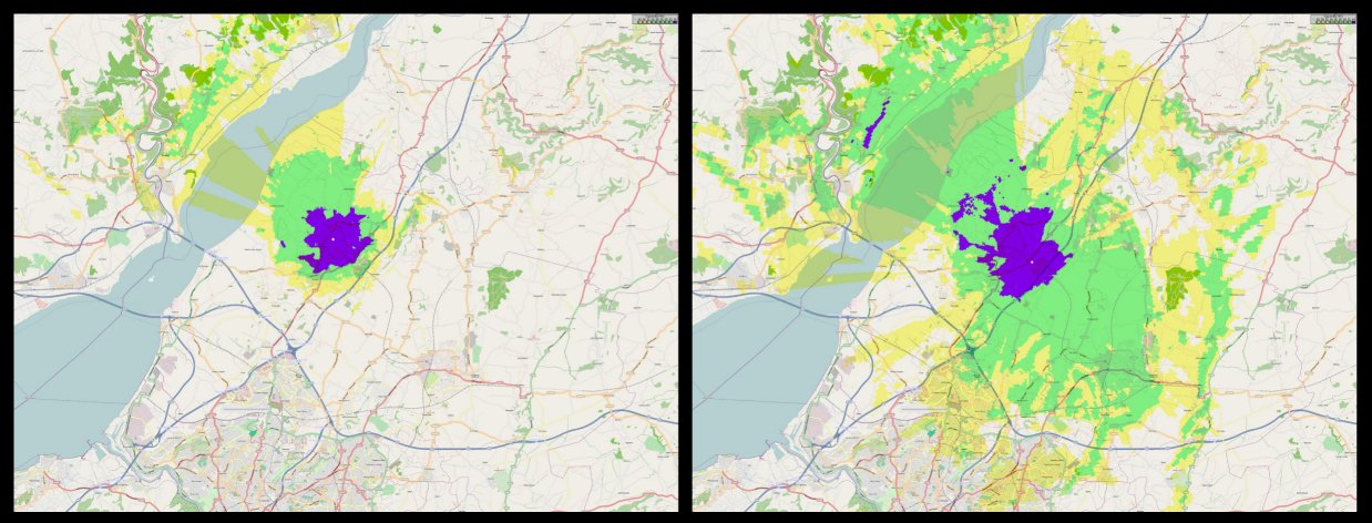 Comparison of coverage from two different sites by Associated Broadcast Consultants